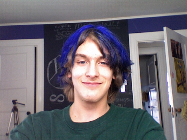 Finally, we worked out a compromise: blue streaks. Three hours later…